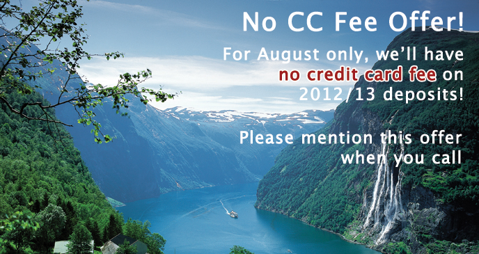 No credit card fee on deposits in August 2011.