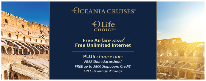 Oceania cruises free internet drinks credit excursions