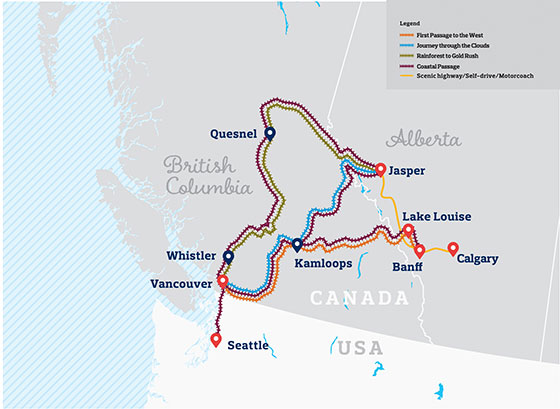 Rocky Mountaineer All routes map